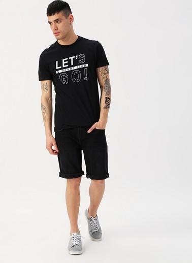 Koton Koton Baskılı Yazılı Siyah T-Shirt Siyah